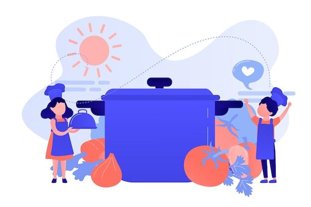 Dzieci na ogromnej patelni lubią gotować smaczne potrawy z warzyw, malutkie ludziki. obóz kulinarny, edukacja kulinarna dla dzieci, koncepcja kursu dla młodzieży. różowawy koralowy bluevector ilustracja na białym tle