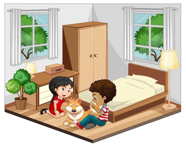 Dzieci na scenie sypialni na białym tle
