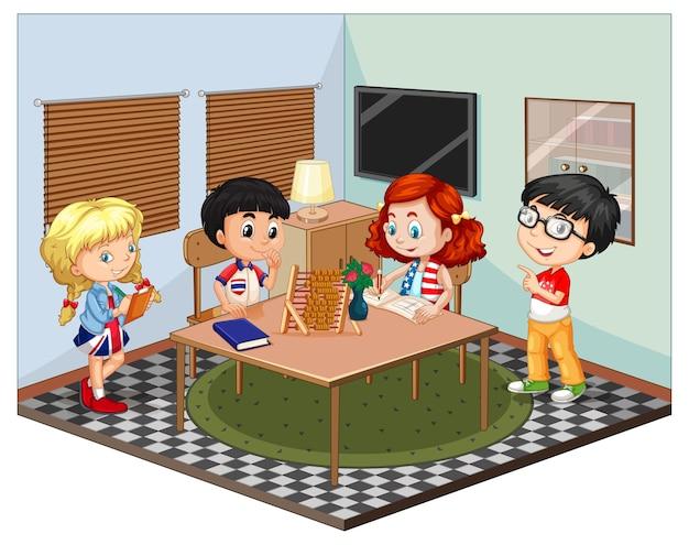 Dzieci na scenie w salonie
