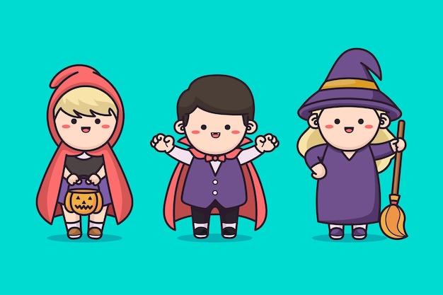 Dzieci na sobie kostium na halloween