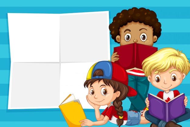 Dzieci na szablonie notatki
