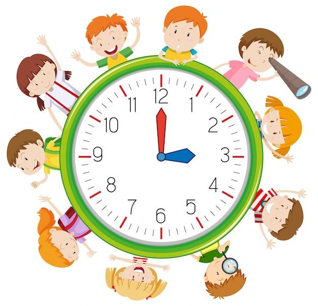 Dzieci na szablonie zegara
