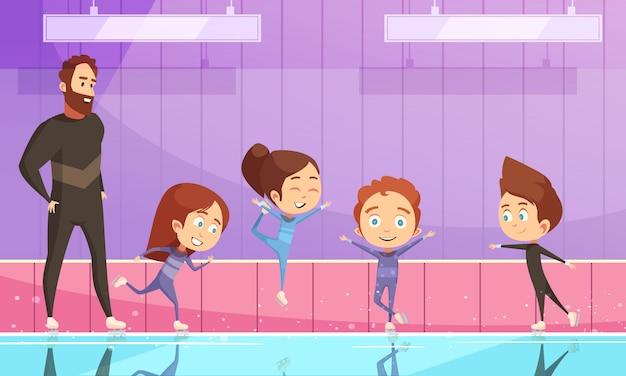 Dzieci na treningu łyżwiarskim figurowym