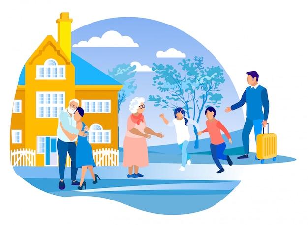 Dzieci na wakacjach w domu dziadków
