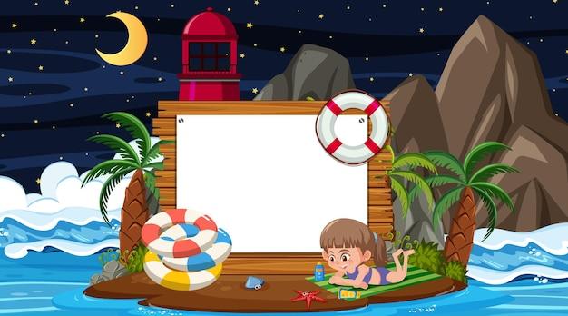 Dzieci na wakacjach w nocnej scenie na plaży z pustym szablonem banera