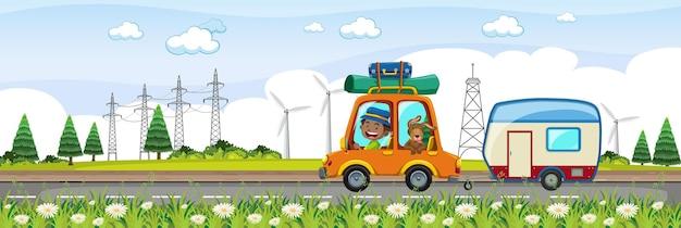 Dzieci na wycieczkę w poziomej scenie farmy w czasie dnia
