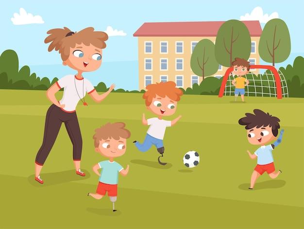Dzieci niepełnosprawne. osoby grające i wykonujące ćwiczenia sportowe na lekcji z osobami niepełnosprawnymi nauczycielami.