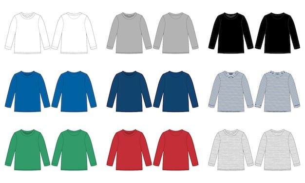 Dzieci noszą skoczek szablon na białym tle. szkic techniczny dla dzieci wektor bluza. kolory biały, szary, czarny, niebieski, żółty, czerwony, zielony.