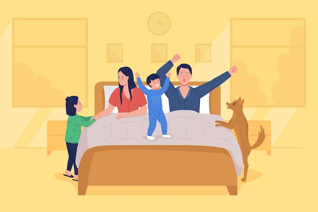 Dzieci obudzić rodziców płaski kolor ilustracji wektorowych. matka i ojciec ziewają w łóżku. wczesna poranna rutyna. dzieci bawią się. rodzinne postacie z kreskówek 2d z sypialnią na tle