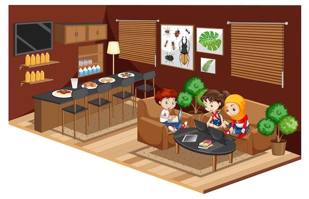 Dzieci odrabiają lekcje w salonie