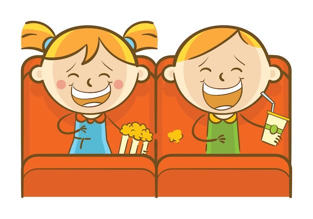 Dzieci oglądają film komediowy
