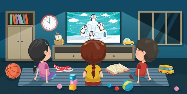 Dzieci oglądają telewizję w pokoju