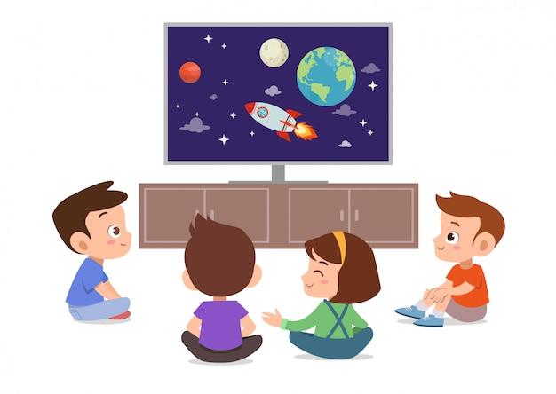 Dzieci oglądają telewizję