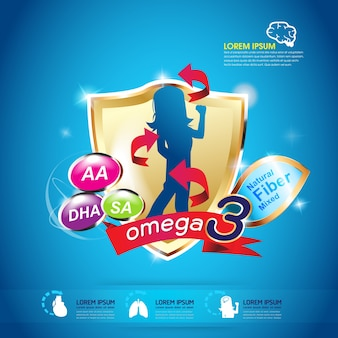 Dzieci omega 3 koncepcja wektor