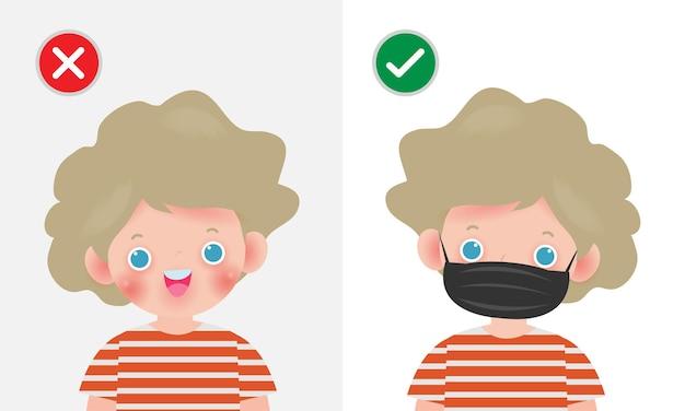 Dzieci oznaczają ochronny zakaz wstępu bez maski na twarz lub noszą ikonę maski