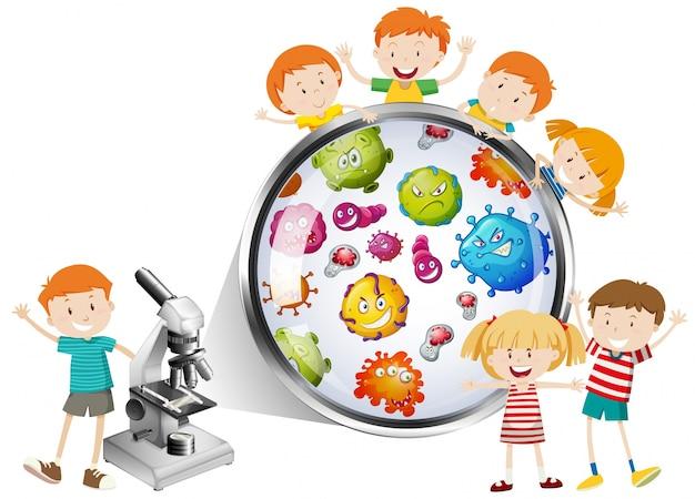 Dzieci patrz? c na bakterie z mikroskopu