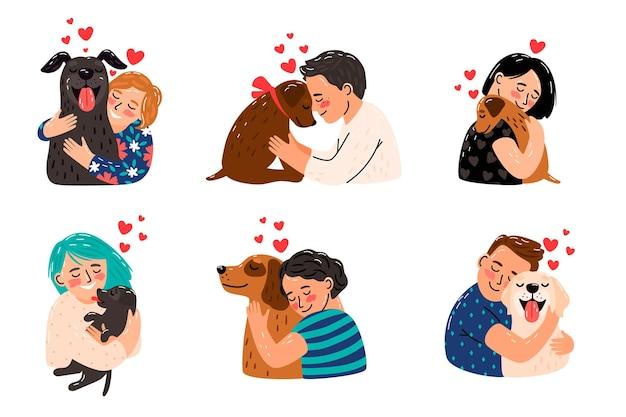 Dzieci pieszczą psy. dzieci przytulające psa zwierzęta domowe, szczęśliwe dziewczyny i uśmiechnięci chłopcy z wizerunkiem szczeniąt, domowe lizanie zwierząt i bawienie się najlepszymi przyjaciółmi właścicieli