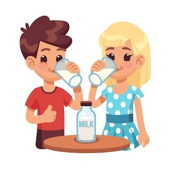 Dzieci piją mleko. cartoon dzieci, chłopiec i dziewczynka ze szklanką mleka. zdrowe śniadanie