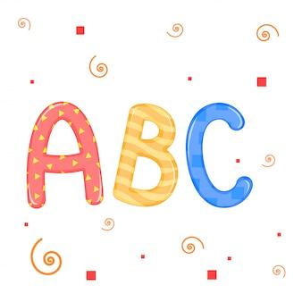 Dzieci piszą grafikę wektorową abc na białym tle