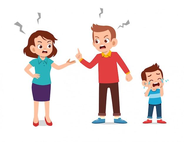 Dzieci płaczą z rodzicem podczas walki