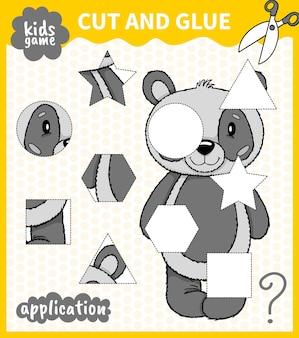 Dzieci planszowa gra ze zwierzętami wycina kształt i klei na miejscu dla przedszkolaków i uczniów szkół podstawowych.