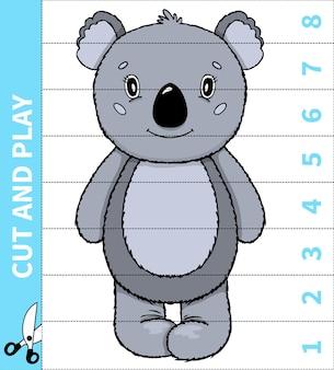 Dzieci planszowa gra ze zwierzętami wycinaj i graj na numer w arkuszach dla przedszkolaków i uczniów szkół podstawowych.
