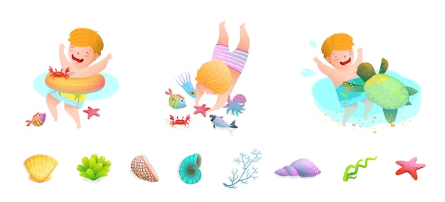 Dzieci pływające w morzu z żółwiem morskim, rybą, gwiazdą morską, ośmiornicą, muszelkami. zabawna kreskówka.