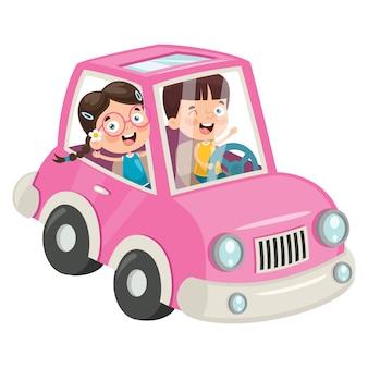 Dzieci podróżujące zabawnym samochodem