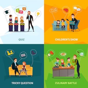 Dzieci pokaż zestaw ikon koncepcji