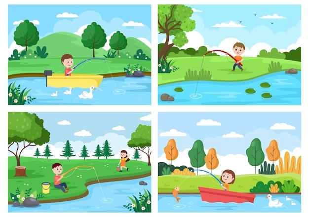 Dzieci połowów ryb ilustracji wektorowych