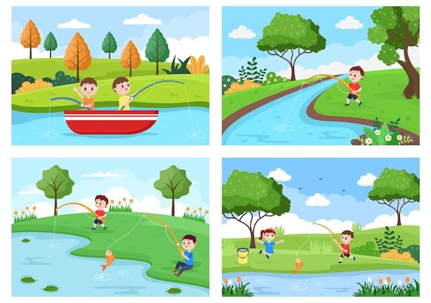 Dzieci Połowów Ryb Ilustracji Wektorowych Premium Wektorów