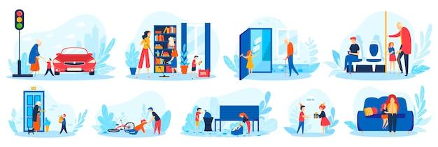 Dzieci pomagają dobre nawyki wektor zestaw ilustracji, kreskówka płaskie grzeczne dziecko pracujące, pomagające dorosłym osobom starszym na białym tle