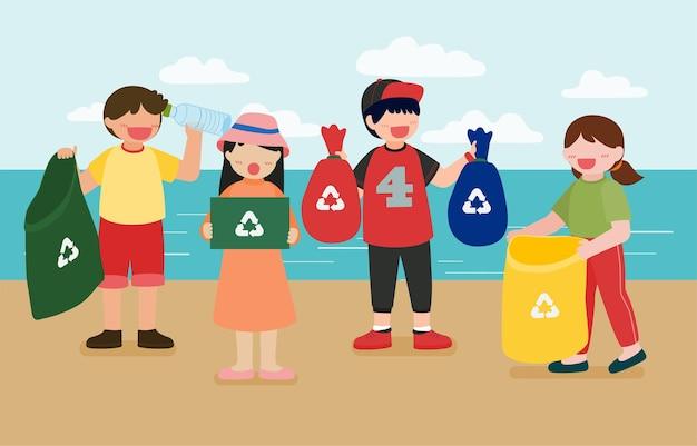 Dzieci pomagają zbierać plastikowe butelki w koszach do recyklingu na plaży na szczęśliwy dzień ziemi w postaci z kreskówek