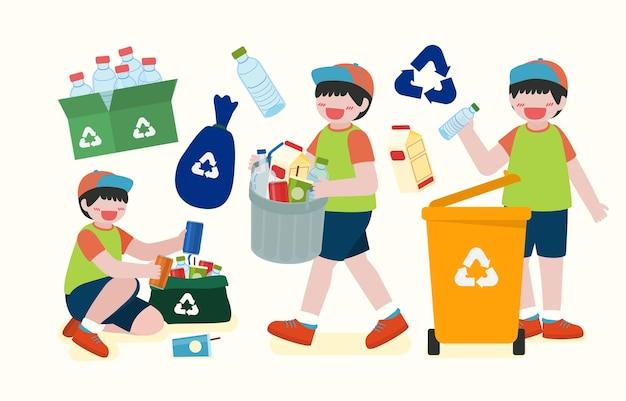 Dzieci pomagają zbierać plastikowe butelki w pojemnikach do recyklingu na szczęśliwy dzień ziemi w postaci z kreskówek