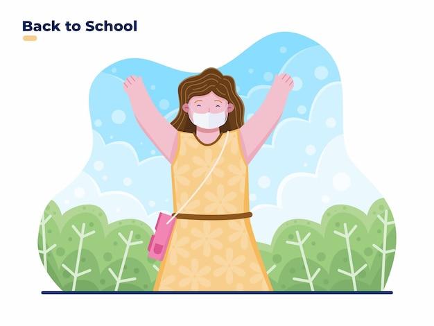 Dzieci powrót do szkoły ilustracja z dziećmi noszącymi maskę na twarz, aby zapobiec koronawirusowi covid19
