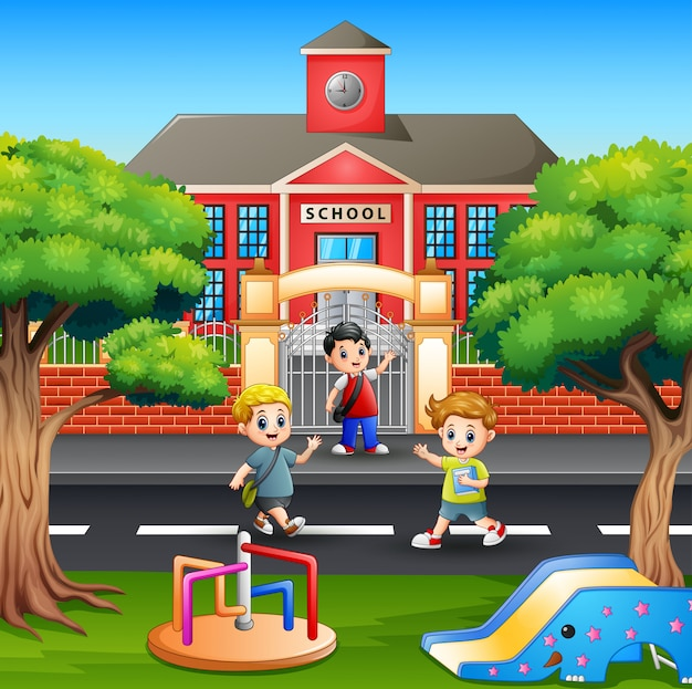 Dzieci przechodzące przez ulicę przed szkołą