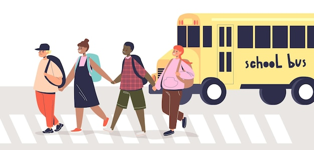 Dzieci przez jezdnię na przejściu dla pieszych. grupa ładny dzieci w wieku szkolnym pieszych na ulicy zebry trzymając się za ręce. koncepcja bezpiecznego skrzyżowania. ilustracja kreskówka płaski wektor