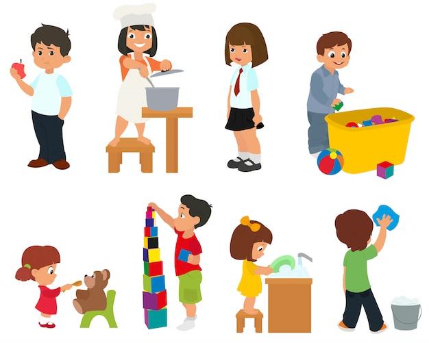 Dzieci przygotowują jedzenie, jedzą i bawią się zabawkami. wektor