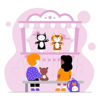 Dzieci razem oglądają przedstawienie kukiełkowe