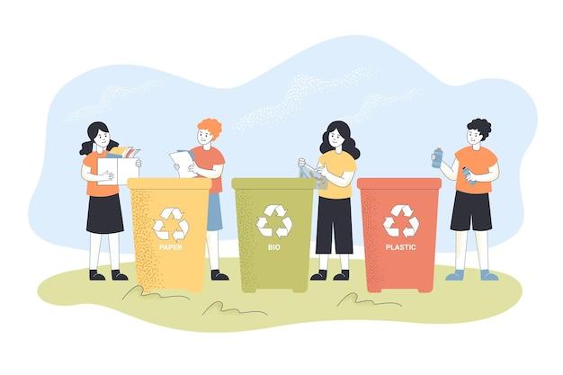 Dzieci recyklingu śmieci. chłopiec rzucający papier do kosza na śmieci, dziecko sortujące śmieci płaska ilustracja