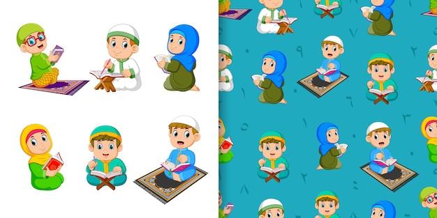 Dzieci recytują koran, wzór i zestaw ilustracji