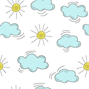 Dzieci ręcznie utopić chmury i słońce. ręcznie rysowane chmury i słońce - wzór