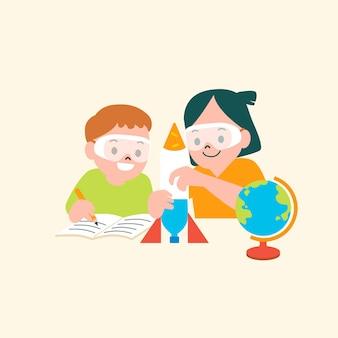 Dzieci robią eksperyment wektorowej edukacyjnej płaskiej grafiki