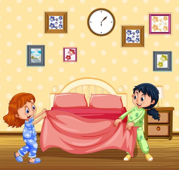Dzieci robią łóżko rano
