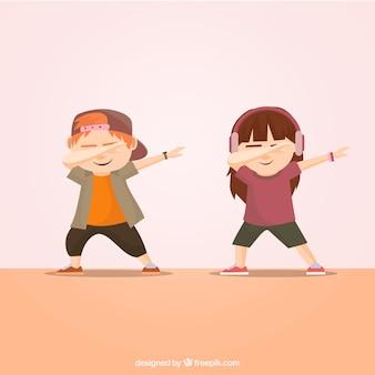 Dzieci robią ruch dabbingowy