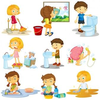 Dzieci robią sprzątanie