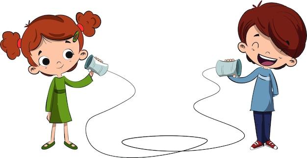 Dzieci rozmawiają na ręcznie robionym telefonie