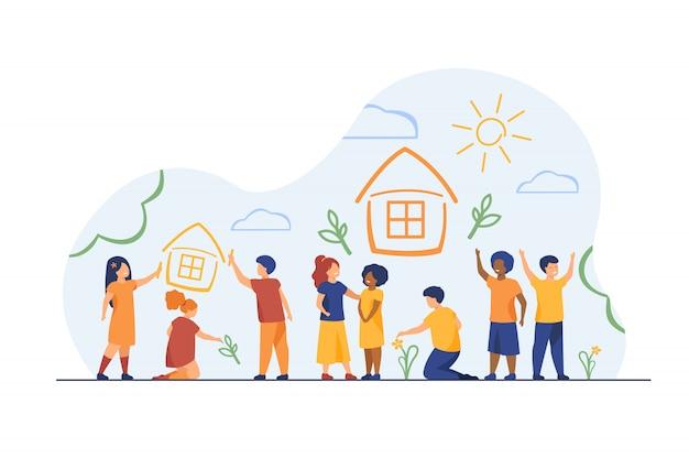 Dzieci rysujące do domu kredkami