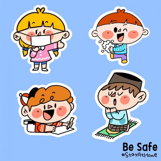 Dzieci są bezpieczne zostań w domu corona covid-19 kampania naklejka ilustracja b
