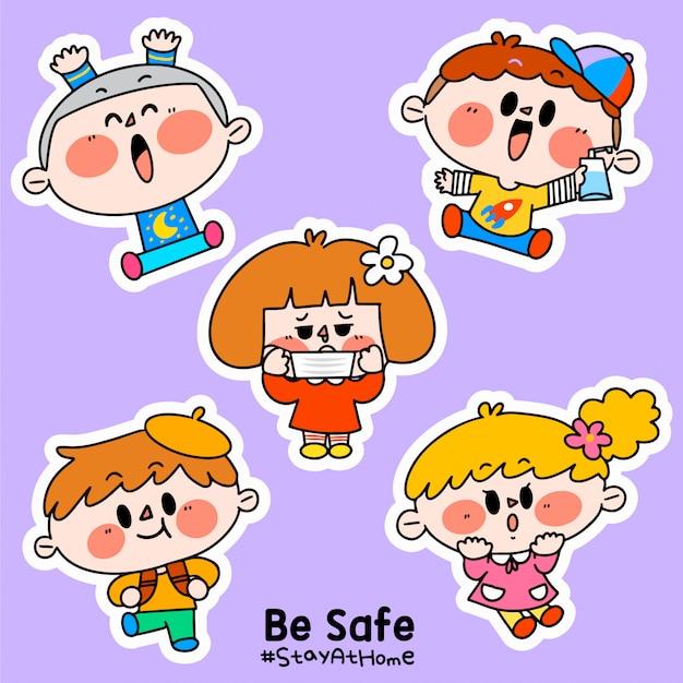 Dzieci są bezpieczne zostań w domu corona covid-19 kampania naklejka ilustracja d